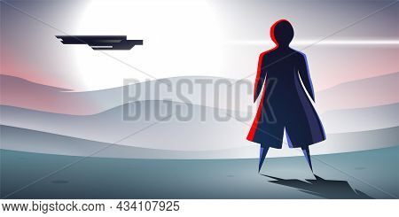 Science Fiction Scene With Person And Spaceship.