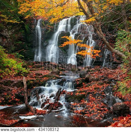 Scenic Hungarian water falls in autumn time in Michigan upper peninsula