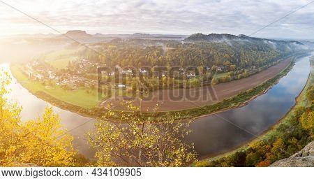 Sunrise in Saxon Alps, the dawn in a nature reserve near Dresden