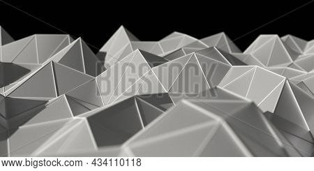 Complex data trends and analysis concept. Terrain like surface three dimensional peaks and valleys of data generated surface. 3D illustration, 3D rendering.