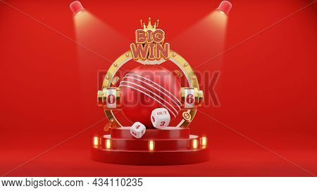 3D Big Win Slot Or Numbering Machine Of Cricket With Dices, Dollar Coins In Golden And Red Color.