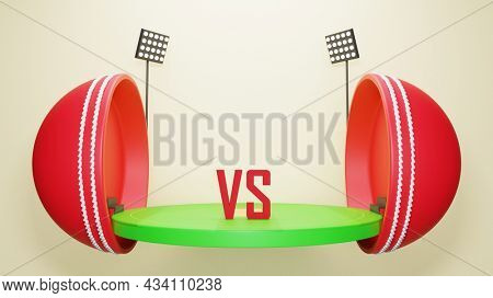 Two Parts Of 3D Cricket Ball With Stadium View And Participating Teams On Beige Background.