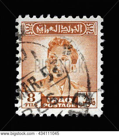 ZAGREB, CROATIA - SEPTEMBER 18, 2014: Stamp printed in Iraq shows portrait of King Faisal II (1935-1958), series, circa 1948