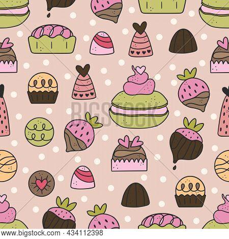 Cute Hand Drawn Seamless Pattern With Chocolate, Candy, Macarone, Strawberry, Dessert.