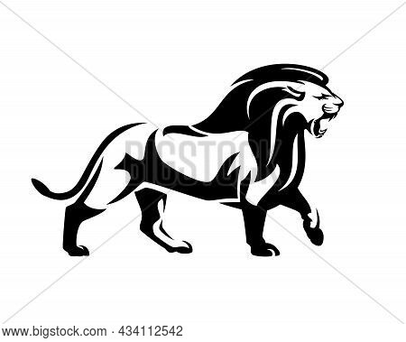 Walking And Roaring African Lion With Big Mane Side View Outline - Wild Animal Black And White Vecto