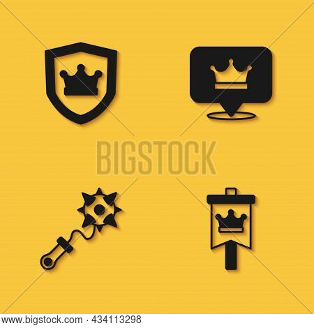 Set Shield With Crown, Medieval Flag, Mace Spikes And King Icon With Long Shadow. Vector