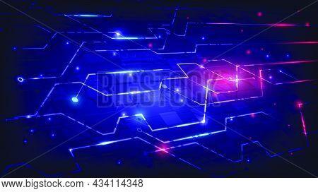Virtual Reality Futuristic Technology And Circuit Board. Abstract Hi-tech Background. Futuristic Sci