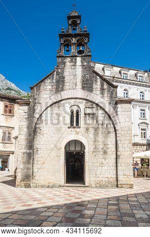 The Church Of Sveti Luka (saint Luke) In Kotor On The Square Piazza Greca, Montenegro