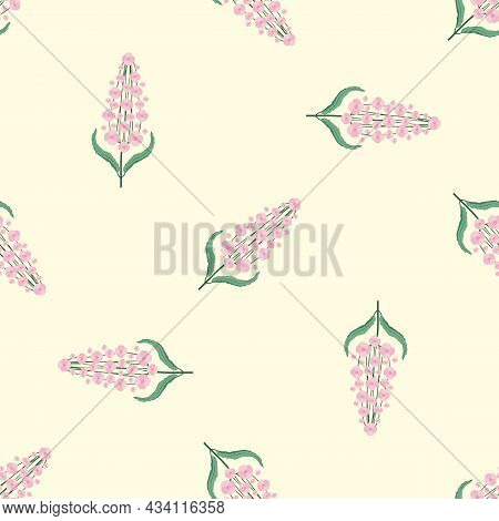 Buddleia Seamless Vector Pattern Background. Known As Butterfly Bush. Yellow Backdrop With Scattered