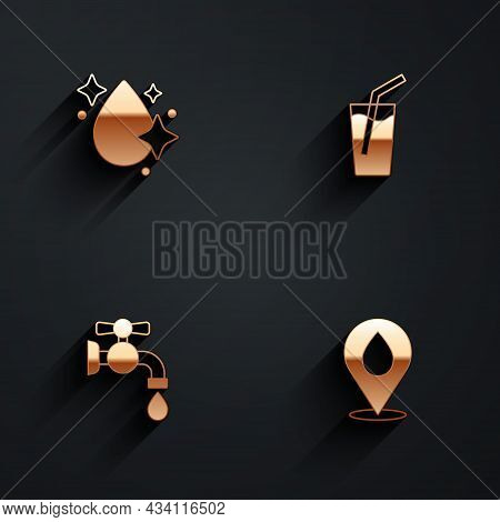 Set Water Drop, Glass With Water, Tap And Location Icon With Long Shadow. Vector