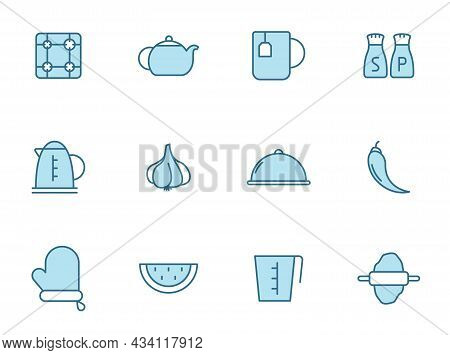 Kitchen Outline Vector Icons In Two Colors Isolated On White Background. Kitchen Blue Icon Set For W