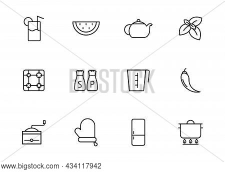 Kitchen Linear Vector Icons Isolated On White. Kitchen Icon Set For Web And Ui Design, Mobile Apps A