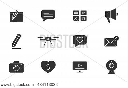 Blog Silhouette Vector Icons Isolated On White. Blogger Icon Set For Web, Mobile Apps, Ui Design And