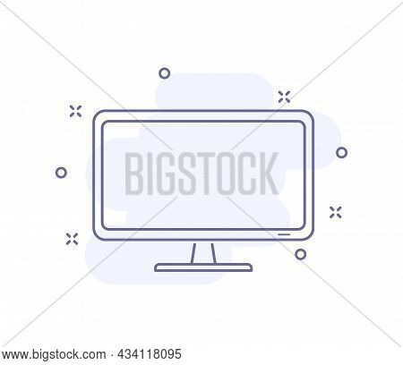Pc Monitor Outline Vector Illustration Isolated On White. Desktop Computer Purple Line Icon With Lig