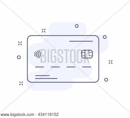 Credit Card Outline Vector Illustration Isolated On White. Credit Card Purple Line Icon With Light P