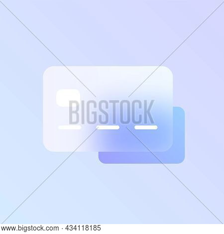 Credit Card Glass Morphism Trendy Style Icon. Credit Card Transparent Glass Color Vector Icon With B