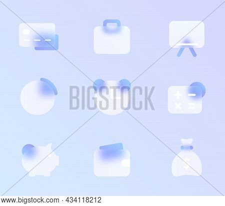 Business Glass Morphism Trendy Style Icon Set. Business Transparent Glass Color Vector Icons With Bl