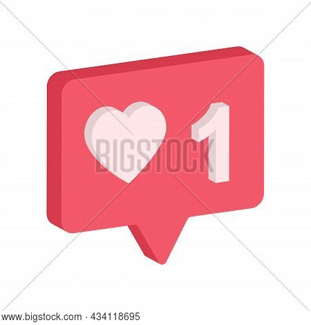 Button Like Heart 1 Icon, Social Notification Symbol, With Red Color And Isolated On White Backgroun