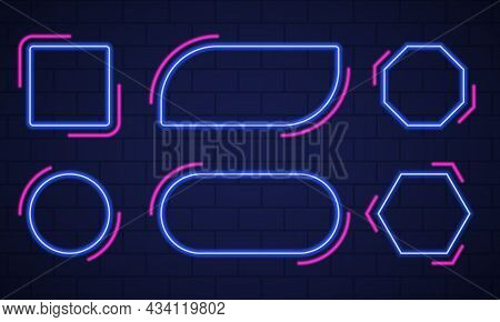 Set Of Shiny Neon Frames On Dark Brick Wall Background. Mockup Of Neon Blue And Pink Lamp On Wall Fo