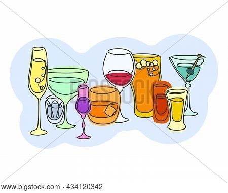 One Line Continuous Line Way Champagne Vermouth Vodka Liquor Whiskey Red Wine Beer Rum Tequila Marti