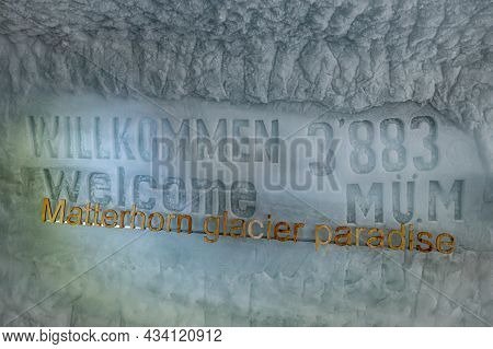 Matterhorn, Valais Canton, Switzerland - 24.09.21.2021: Welcome To Matterhorn Glacier Paradise. 3883