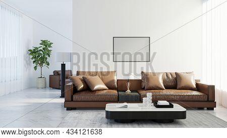 Blank Horizontal Poster Frame Mock Up In Scandinavian Style Living Room Interior, Modern Living Room