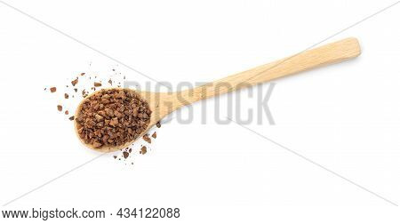 Spoon Of Chicory Granules On White Background, Top View