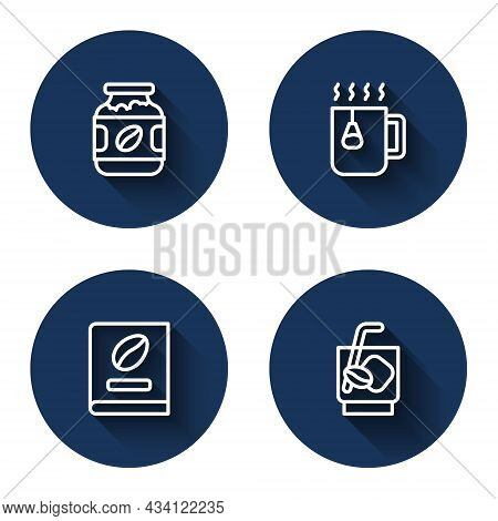 Set Line Coffee Jar Bottle, Cup Tea With Bag, Book And Espresso Tonic Coffee With Long Shadow. Blue
