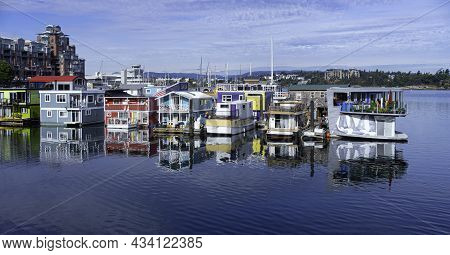 Floating On The Water Houses In Beautiful Victoria, British Columbia, Canada. Taken On A Sunny Morni