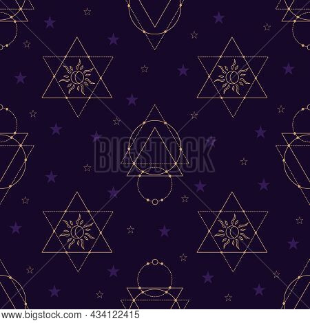 Vector Seamless Pattern With Gold Alchemy And Mystic Signs Eye, Triangles, Arrows, Moons, Stars, Ast