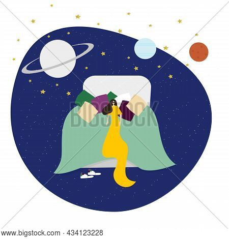 Vector Flat Character Illustration. A Woman Sleeping In A Mask And In A Long Dress In Pillows In A B
