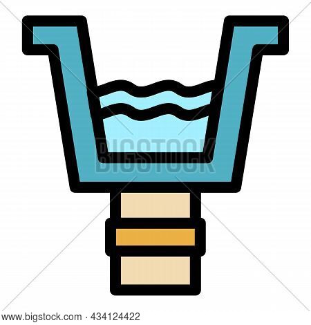 Rooftop Gutter Icon. Outline Rooftop Gutter Vector Icon Color Flat Isolated