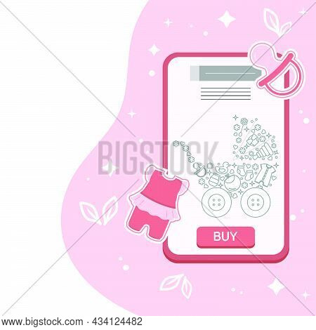 Vector Illustration Cell Phone Order, Purchases Of Goods For Babies. Ordering For Delivery Online St