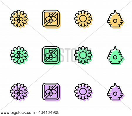 Set Line Flower, Bee On Flower, Stop Bee And Hive For Bees Icon. Vector