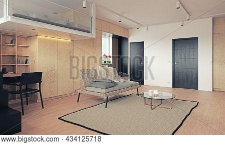 compact apartment design concept. 3d interior rendering