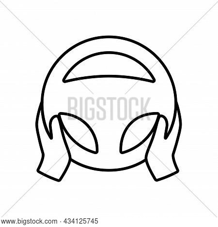 Steering Wheel Icon. Hands On Steering Wheel. Driver. Driving Car Symbol. Test Drive. Vector Outline
