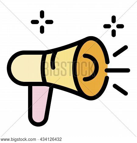 Hoax Megaphone Icon. Outline Hoax Megaphone Vector Icon Color Flat Isolated