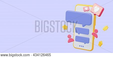 Mobile Phone With Social Media Chat. With Icon Like Heart Speech Bubble. 3d Rendering