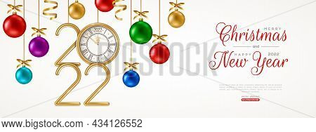Merry Christmas And Happy New Year Party Banner, Hanging Colorful Realistic Baubles And 2022 Logo Cl