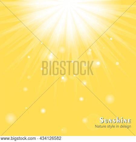 Dazzling Sunshine Sun Rays With Bokeh On Yellow Background. Beautiful Sunny Banner With Sunburst Sun