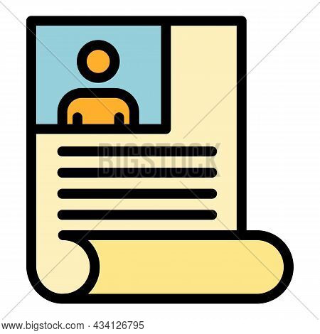 Cv Paper Icon. Outline Cv Paper Vector Icon Color Flat Isolated