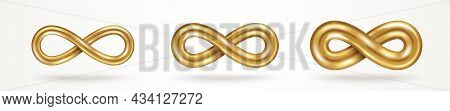Infinity Gold Symbols Set Isolated On White Background, Various Thickness. Vector Illustration. Endl