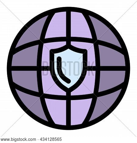 Global Fraud Protection Icon. Outline Global Fraud Protection Vector Icon Color Flat Isolated