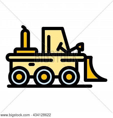 Bulldozer Icon. Outline Bulldozer Vector Icon Color Flat Isolated