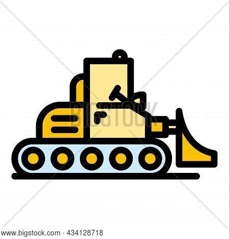 Heavy Bulldozer Icon. Outline Heavy Bulldozer Vector Icon Color Flat Isolated