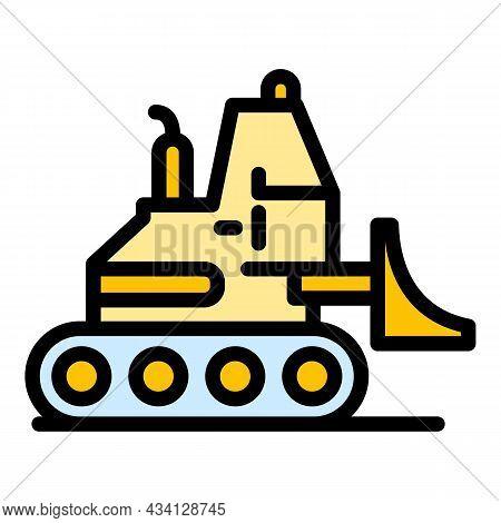 Hydraulic Bulldozer Icon. Outline Hydraulic Bulldozer Vector Icon Color Flat Isolated