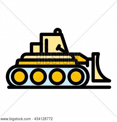 Business Bulldozer Icon. Outline Business Bulldozer Vector Icon Color Flat Isolated