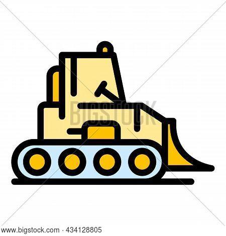 Bulldozer Machine Icon. Outline Bulldozer Machine Vector Icon Color Flat Isolated