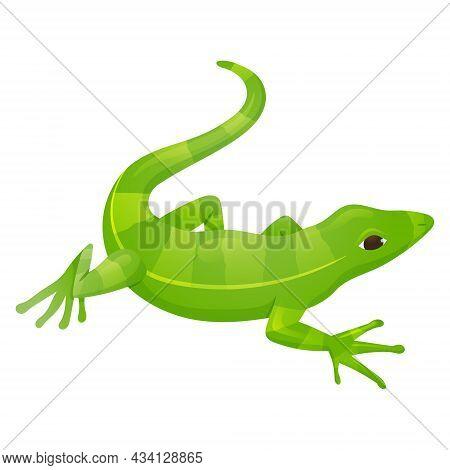 Vector Cartoon Illustration Of Green Striped Lizard Reptile.