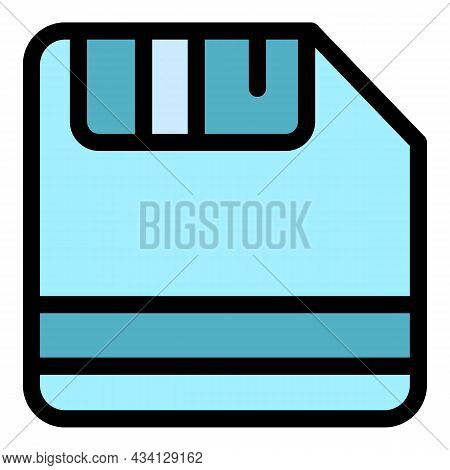 Floppy Disk Icon. Outline Floppy Disk Vector Icon Color Flat Isolated